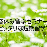 【留学セミナー】1/20(土)今からでも間に合わせる!春休み留学セミナー